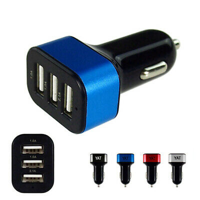 3.1A Triple USB Car Charging adapter Port LED Cigarette Lighter Fast charger