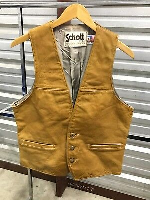 MENS MEDIUM - Vtg Schott NY Western Motorcycle Biker Lined Leather Vest USA