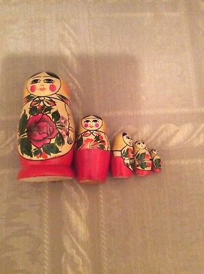 Vintage 5Pc. Russian Wooden Nesting Doll Set
