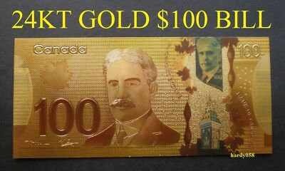 💰 Canada $100 Banknote 24kt Gold Foil Bill Note with protector sleeve 🎁