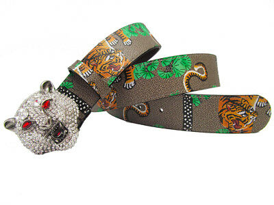 Western Rhinestone Tiger Head Buckle Tiger Print Leather Men Belt Gift Jeans