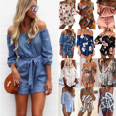 a93c88a6386 Womens Off Shoulder Playsuits Romper Shorts Mini Jumpsuit Beach Sundress  Holiday