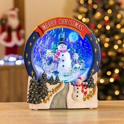 Christow LED Snowing Christmas Snowman Ornament Scene Electric Musical Snowglobe