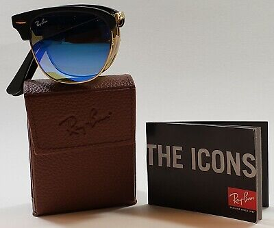 967d50c2f22 NEW Authentic RayBan ClubMaster Folding Black Gold Sunglasses RB2176  901-S 7Q