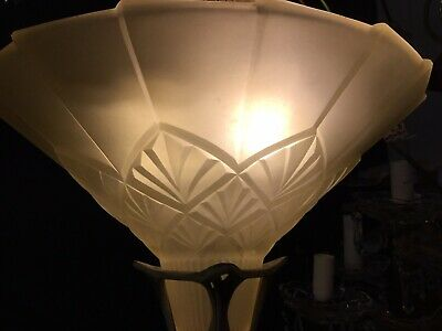 Original Art Deco Slip Shade Chandelier Glass Flush Mount Light Pendant