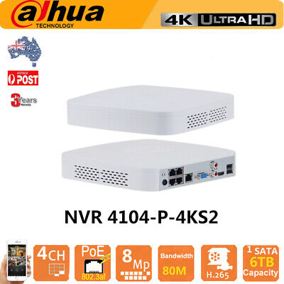 Dahua 4CH 4 POE DVR NVR4104-P-4KS2 4K 8MP H.265 Up 6TB  For Dahua IP Camera