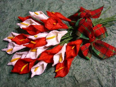 RED & WHITE ARUM LILIES + Tartan BOWS MP3D7X:::  scrapbook & card embellishemts