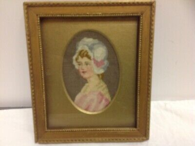 ANTIQUE  petit point picture young girl  Beautiful