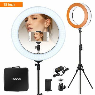"Studio 58W 18"" LED Photo Video Ring Light + Camera Phone Holder + Mirror Stand"
