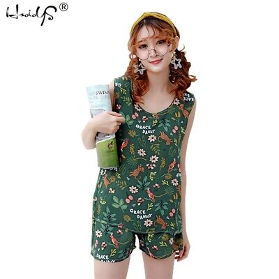 Summer Pyjamas Set For Women Cute Print Sleepwear Homewear Girl Nightdress Plus