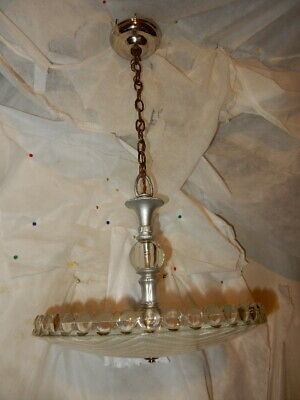 Antique frosted glass art deco light fixture ceiling chandelier 1930's