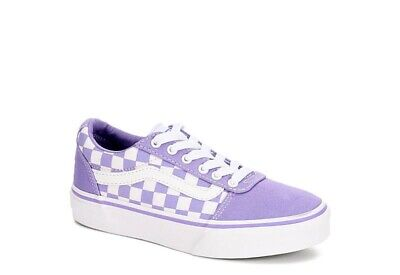 70ee63f8fb VANS Ward Girls  Checkerboard WHITE VIOLET Skate Shoes Youth Size 3