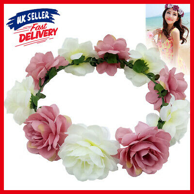 Women Headpiece Wreath Garland Headband Boho Wedding Hair Crown Floral Flower