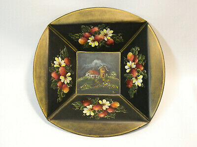 "Vintage Norwegian Rosemaling 9-1/2"" Wooden Candle Wall Sconce - Signed!"