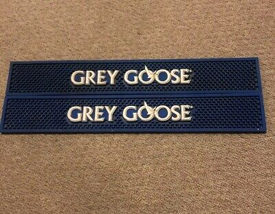 "Lot Of 2- Gray Goose Vodka Logo Blue & White Rubber Bar,Spill Mat 23""x3 1/2""$ave"