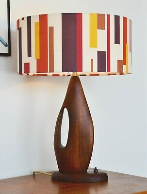 Danish Mid Century Vintage 'rejsetaske' solid teak table LAMP new bespoke shade