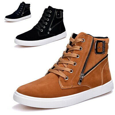 Mens High Top Lace Up Flat Board Shoes Faux Suede Zip Athletic Casual Sneakers