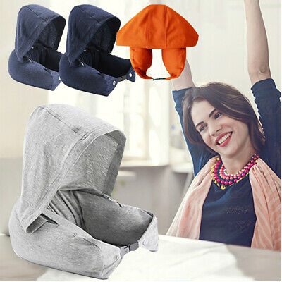 Body Neck Pillow Solid Hooded Cushion Flight Head Rest Neck Support Headrest IF