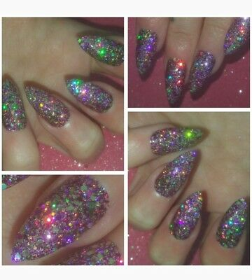PARTY NAILS BLING Pure Holographic INDIAN SUMMER Nails x 20 Sparkly Glitter