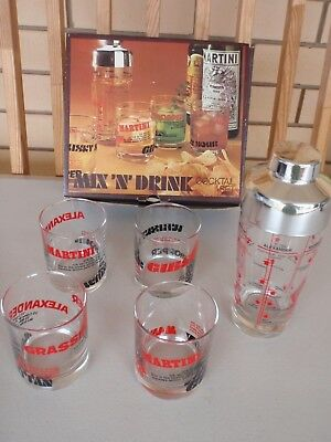 VINTAGE RETRO SAIVO FLORENCE BAR COCKTAIL SET - SHAKER + 4 x GLASS MIX N DRINK