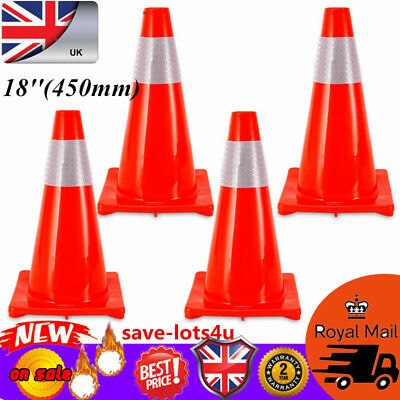 4Pcs 450mm Road Traffic Cones Emergency Safety Cone Barrier Sign Parking lots