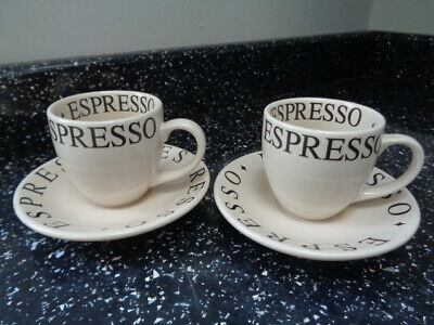 Whittard Of Chelsea Espresso Cups And Saucers X 2 - Script