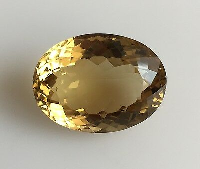 23.78 Ct Natural Citrine Quartz Loose Dark Yellow Gemstones Oval Cut 16 X 22 Mm