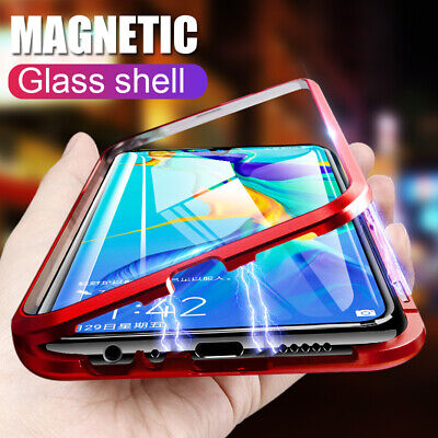 For Huawei P20 P30 Lite Mate 20 Pro Case Magnetic Adsorption Metal Glass Cover