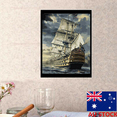 AU 50 X 40CM Framed Wooden DIY Paint By Number Kit Cool Sailing Boat Home Decor
