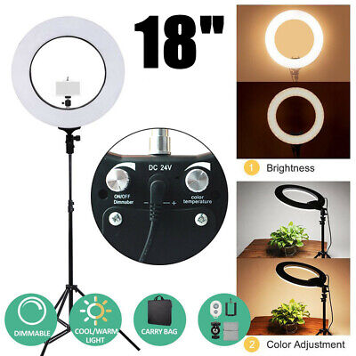 "18"" LED Ring Light with Stand Dimmable Photo Studio Selfie Phone Video Live UK"