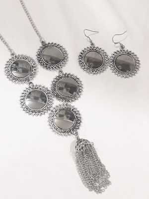 Indian Women Silver Oxidized Peacock Necklace Set Fashion Jewelry Bihu Trible Jewellery & Watches Fashion Jewellery
