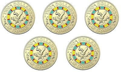 2019 Australia Mr Squiggle and Friends $2 Coin - Mr Squiggle - Lot of 5 Coins