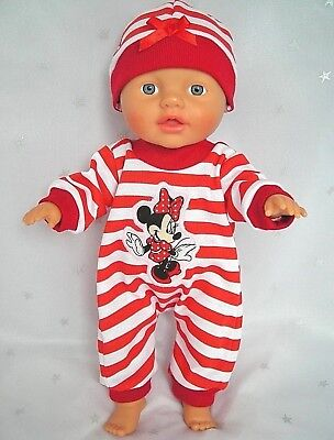 "Dolls clothes for 13"" My Little Baby Born Doll~MINNIE MOUSE RED STRIPE JUMPSUIT"