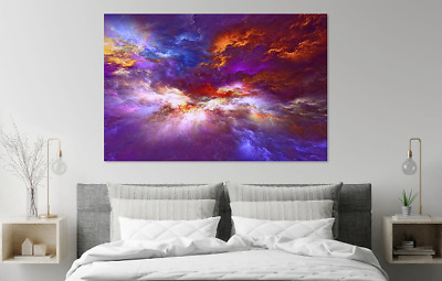 Beautiful Abstract Clouds Colourful Print Home Decor Wall Art choose your size