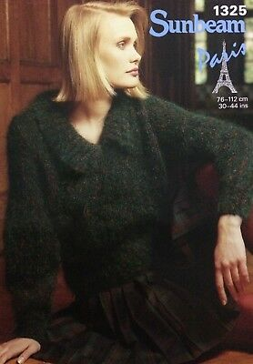 Sunbeam Lady's V Neck Collared Sweater Paris KNITTING PATTERN 1325 - Bust 30-44""