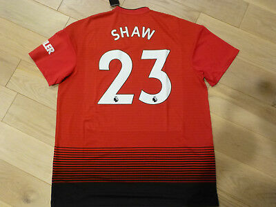 513976392 NWT Adidas 2018 19 Manchester United  23 Luke Shaw Red Home Jersey (Men