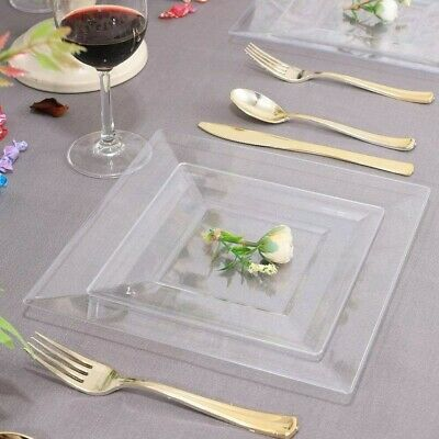 Clear Hard Strong Plastic Plates Square Disposable / Reusable for Party (10 pk)