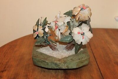 Vintage Asian Glass Jade Stone Bonsai Flower Tree China 10 inches Marble base