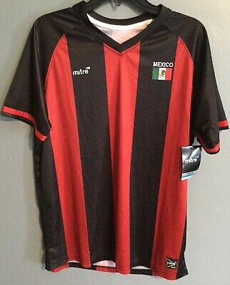 64953ccf9 Mitre Mens Mexico Soccer Shirt Jersey Black Red Size Small Large Football  Futbol