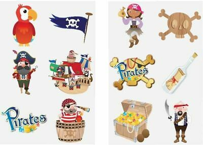 72 Childrens Pirate Temporary Tattoos Kids Loot Party Bag Fillers Boys Girls