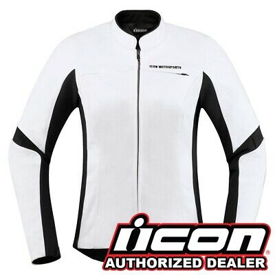 Icon Overlord Leather White Women's Motorcycle Jacket XS-XL -NEW 2019