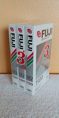 Lot of 3 New Fuji VHS High Quality HQ T-120 6 Hours Blank Video Cassette Tapes