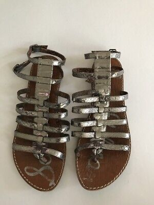 f7763ad230f1e0 Sam Edelman Gilda Womens Silver Leather Gladiator Sandals Snake Print Sz US  7