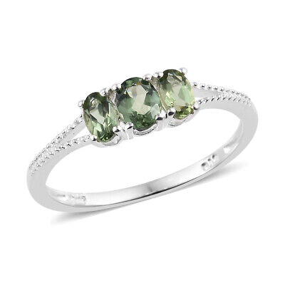 Natural Green Apatite 925 Sterling Silver 3 Stone Ring Jewelry Gift Cttw 0.90