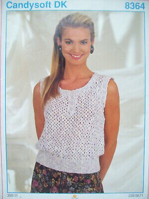 Ladies Lacy sleeveless Top KNITTING PATTERN set 28-40 inch Candysoft DK 8364