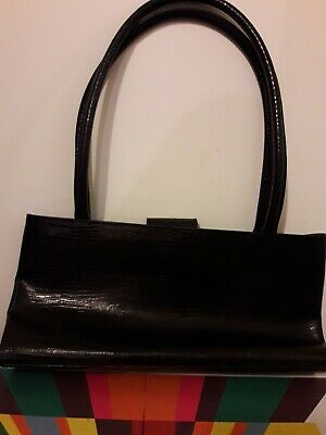 Russell&Bromley Brown Black Leather Claudia Bag