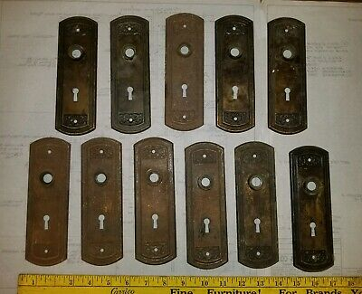 Lot of 11  Reclaimed Vintage STAMPED STEEL Brass finish Back Plate ESCUTCHEONS