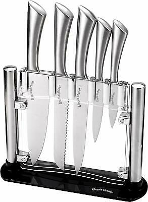 6 Pcs Kitchen Knife Set Stainless Steel Cutlery Knives With Knife Sharpener Rod