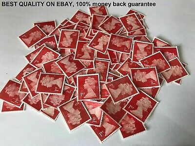 100 1St Class Red Unfranked Stamps Off Paper No Gum Security Value £67