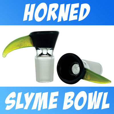 Black with Slyme Green Horn Handmade Glass on Glass Funnel Slide Bowl  14 - 18mm